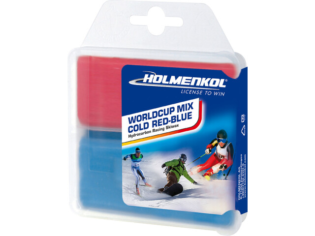 Holmenkol Worldcup Mix Cold Base Wax 2 x 35g, red/blue